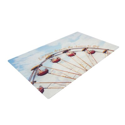Beth Engel the Chance To Fly Ferris Wheel Blue/Red Area Rug Rug Size: 2' x 3'