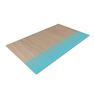 Brittany Guarino Art Wood Aqua Area Rug Rug Size: 2' x 3'