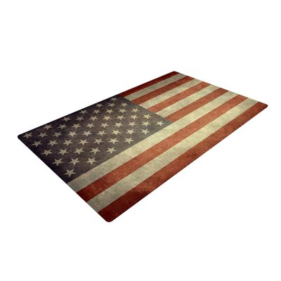 Bruce Stanfield Flag of US Retro Rustic Red/White Area Rug Rug Size: 4 x 6