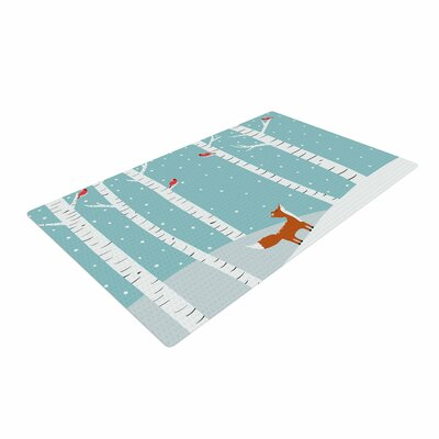 Cristina Bianco Design Fox Cardinals Winter Kids Blue Area Rug Rug Size: 4 x 6