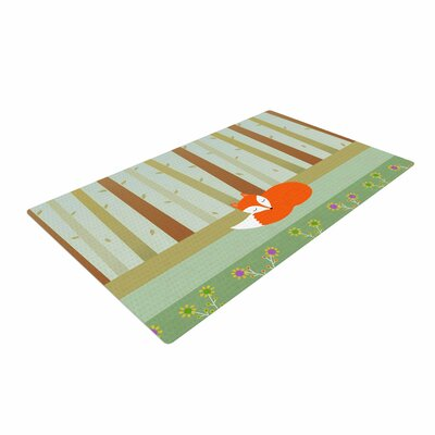 Cristina Bianco Design Sleeping Fox Illustration Green Area Rug Rug Size: 2 x 3