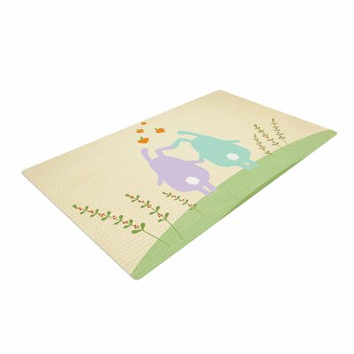 Cristina Bianco Design Cute Bunnies Animals Beige Area Rug Rug Size: 4 x 6