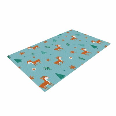 Cristina Bianco Design Cute Deer Pattern Kids Teal Area Rug Rug Size: 4 x 6