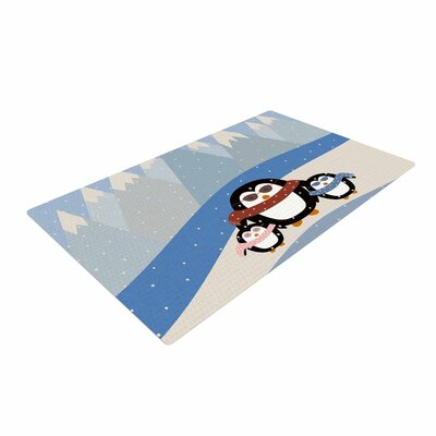 Cristina Bianco Design Cute Penguins Illustration Black Area Rug Rug Size: 2 x 3