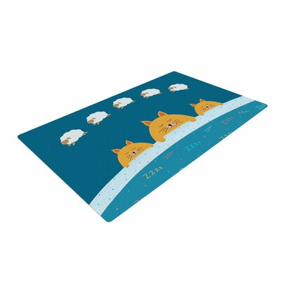 Cristina Bianco Design Sleeping Cats Zzzz Animals Teal Area Rug Rug Size: 4 x 6