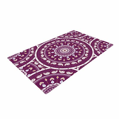 Cristina Bianco Design Mandala Design Abstract Purple Area Rug Rug Size: 4 x 6