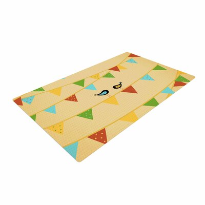 Cristina Bianco Design Birds Kids Blue Area Rug Rug Size: 4 x 6