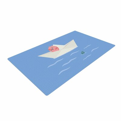 Cristina Bianco Design Cat and Paper Boat Pink/Blue Area Rug Rug Size: 4 x 6