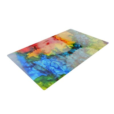 Claire Day Clairefied Rainbow Paint Gray/Blue Area Rug Rug Size: 2 x 3