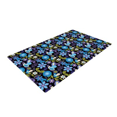 Carolyn Greifeld Florals Lavender/Aqua Area Rug Rug Size: 4 x 6