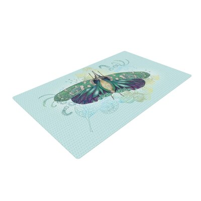 Catherine Holcombe Deco Moth Teal Area Rug Rug Size: 4 x 6