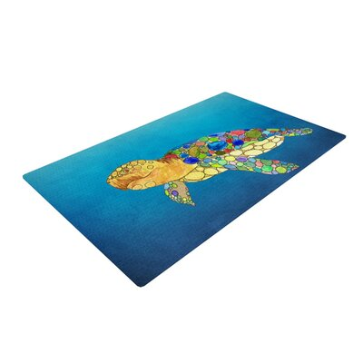 Catherine Holcombe Bubbles Turtle Blue Area Rug Rug Size: 2 x 3