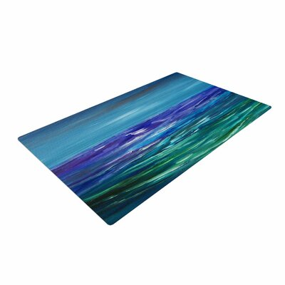 Cyndi Steen Moonlit Waves Blue/Purple Area Rug Rug Size: 2 x 3