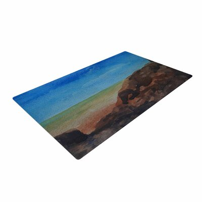 Cyndi Steen Beach Rocks Coastal Blue Area Rug Rug Size: 4 x 6
