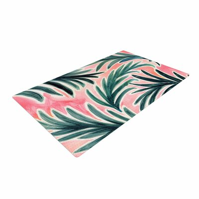 Crystal Walen Lush Palm Leaves Green/Pink Area Rug Rug Size: 4 x 6