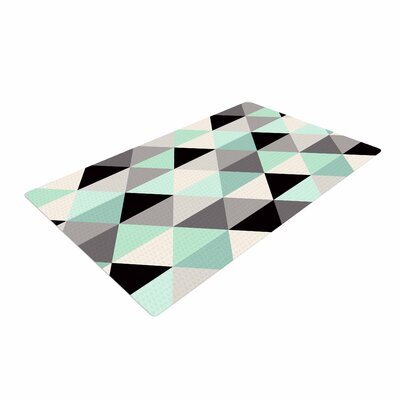 Crystal Walen Triangle Geo Mint Teal/Black Area Rug Rug Size: 4 x 6
