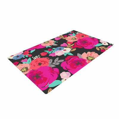 Crystal Walen Sweet Pea Floral Black Area Rug Rug Size: 2 x 3
