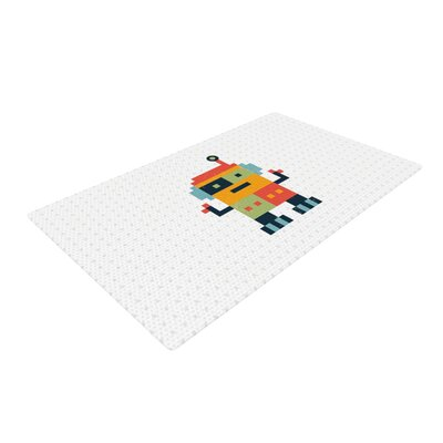 Daisy Beatrice Happy Robot White/Orange Area Rug Rug Size: 4 x 6