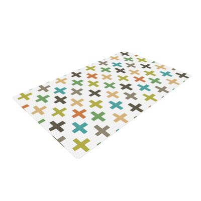 Daisy Beatrice Hipster Crosses Repeat Blue/Beige Area Rug Rug Size: 2 x 3