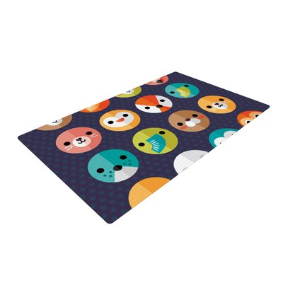 Daisy Beatrice Smiley Faces Animals Dark Purple Area Rug Rug Size: 2 x 3