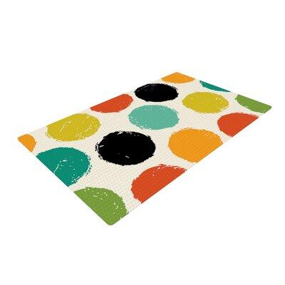 Daisy Beatrice Retro Dots Circles Cream/Black Area Rug Rug Size: 2 x 3