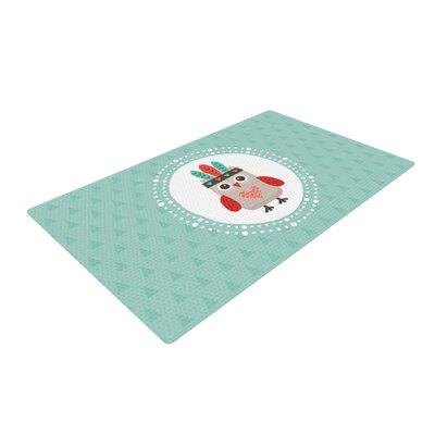 Daisy Beatrice Hipster Owlet Teal Area Rug Rug Size: 2 x 3