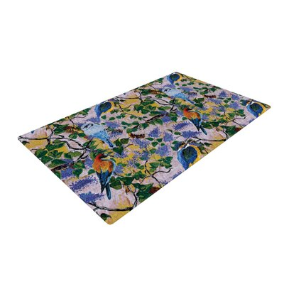 DLKG Design Birds Blue/Yellow Area Rug Rug Size: 2 x 3