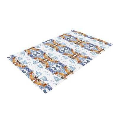 DLKG Design Red Fox in Snow Blue/Orange Area Rug Rug Size: 4 x 6