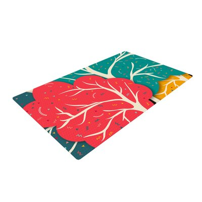 Danny Ivan Happy Forest Trees Blue/Red Area Rug Rug Size: 2 x 3