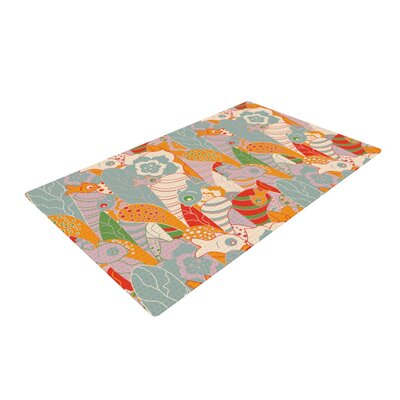 Akwaflorell Fishes Here, Fishes There II Orange/Green Area Rug Rug Size: 2 x 3
