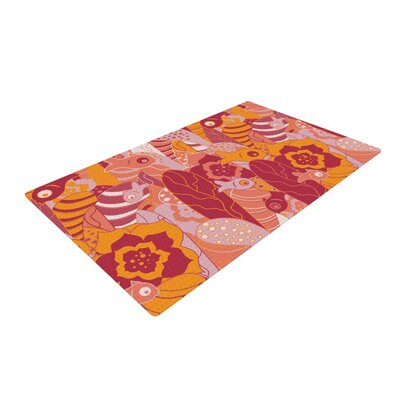 Akwaflorell Fishes Here, Fishes There III Pink/Orange Area Rug Rug Size: 4 x 6