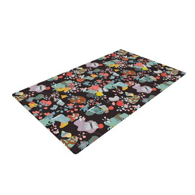 Akwaflorell at Home Black/Green Area Rug Rug Size: 2 x 3