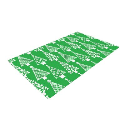 Emine Ortega Jolly Trees Forest Green/White Area Rug Rug Size: 2 x 3
