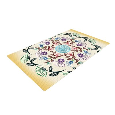 Famenxt Nature Mandala Yellow Area Rug Rug Size: 2 x 3