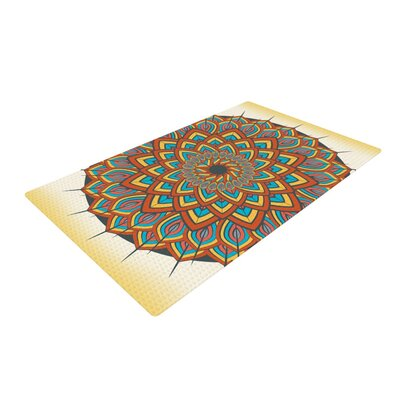 Famenxt Floral Mandala Geometric Orange/Blue Area Rug Rug Size: 4 x 6