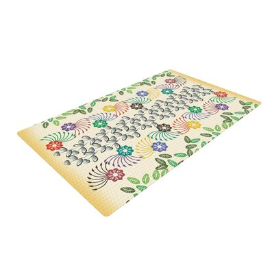 Famenxt Flowers and Leaves Pattern Abstract Geometric Green/Yellow Area Rug Rug Size: 2 x 3
