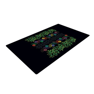 Famenxt Jungle Pattern Black/Green Area Rug Rug Size: 4 x 6