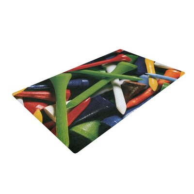 Heidi Jennings Teed off Green/Red Area Rug Rug Size: 2 x 3