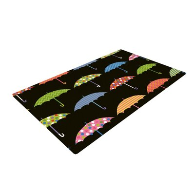 Heidi Jennings Umbrella Black/Green Area Rug Rug Size: 2 x 3