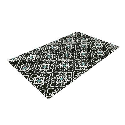 Heidi Jennings Geometric White/Black/Blue Area Rug Rug Size: 2 x 3