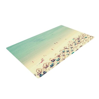 Ingrid Beddoes Happy Summer Beach Green/Cream Area Rug Rug Size: 4 x 6