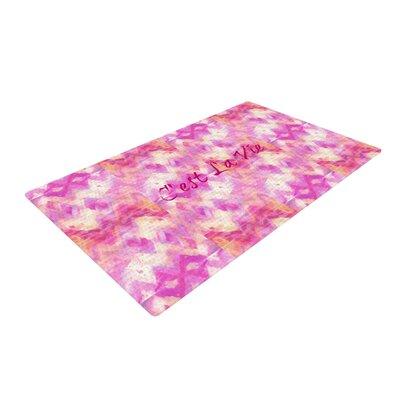 Ebi Emporium Cest La Vie Typography Pink Area Rug Rug Size: 2 x 3