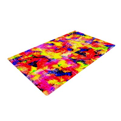 Ebi Emporium the Flock Yellow/Red Area Rug Rug Size: 2 x 3