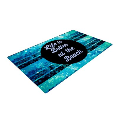 Ebi Emporium Life is Better at the Beach Blue/Aqua Area Rug Rug Size: 2 x 3