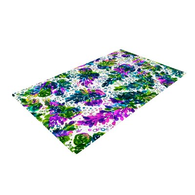 Ebi Emporium Prismatic Posy III Purple/Green Area Rug Rug Size: 2 x 3