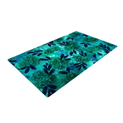 Ebi Emporium Grunge Flowers III Floral Teal Area Rug Rug Size: 2 x 3