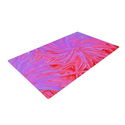 Ebi Emporium Water Flowers Crimson Lilac Pink/Red Area Rug Rug Size: 4' x 6'
