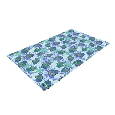 Julia Grifol My Fishes Blue/Teal Area Rug Rug Size: 2 x 3