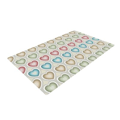 Julia Grifol My Hearts Blue/Red Area Rug Rug Size: 4 x 6