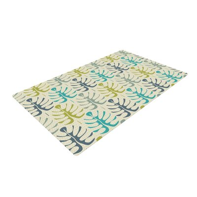 Julia Grifol My Leaves Teal/Green Area Rug Rug Size: 2 x 3